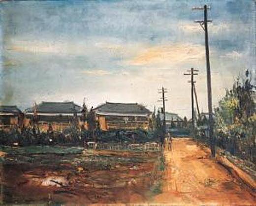 佐伯祐三「下落合風景(散歩道)」1926.jpg