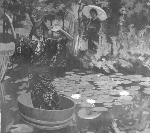 刑部人「睡蓮と金山先生」モノクロ.jpg