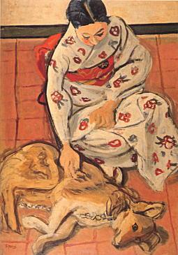 安井曾太郎『女と犬』1940.jpg
