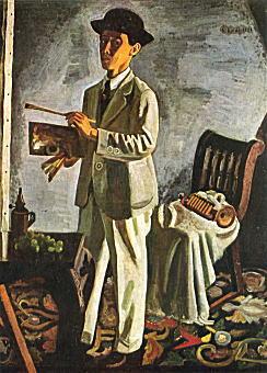 帽子を被れる自画像1924.jpg