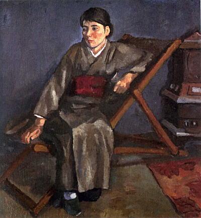 松下春雄「和装の女(椅子による女)1931-33.jpg