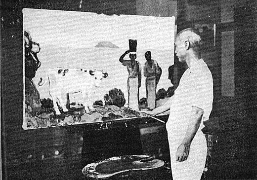 満谷国四郎「島の女」制作中1922婦人画報.jpg