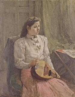 鬼頭鍋三郎「マンドリンを持つ女」1940.jpg