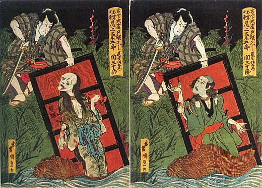 国貞(三代豊国)「四谷怪談戸板返し」1831.jpg