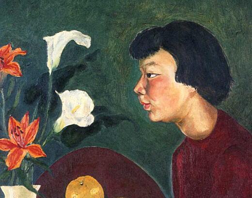 岸田麗子「花と少女」1955部分.jpg