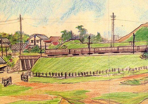 戸山ヶ原の大地から山手線のガードを1935.jpg