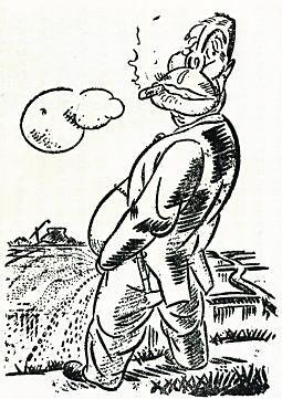 柳瀬正夢「田中大将の公平なる肥料分配」1928頃.jpg