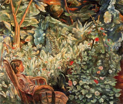 牧野虎雄「庭の少女(中庭)」1921.jpg