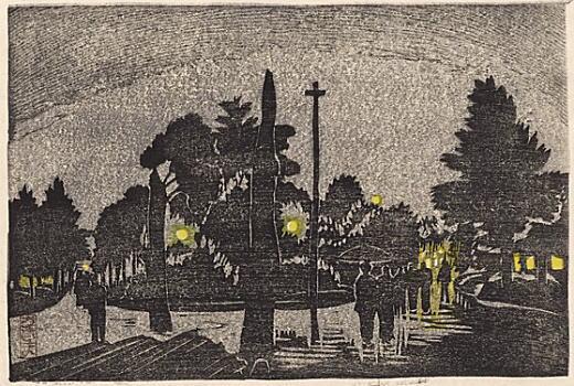 織田一麿「浅草の夜」1928.jpg